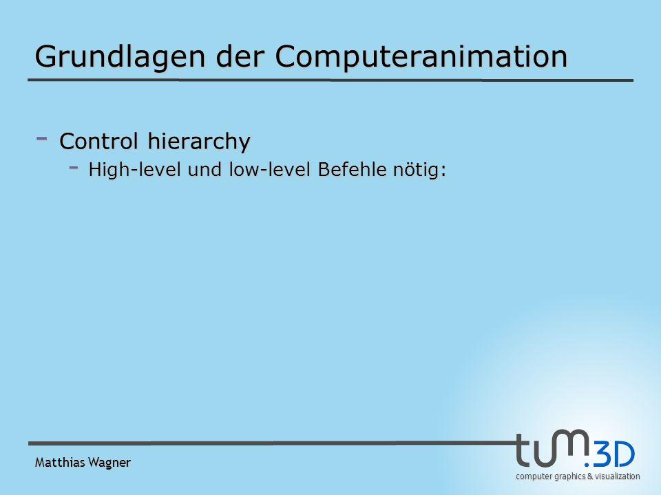 computer graphics & visualization Matthias Wagner Grundlagen der Computeranimation - Control hierarchy - High-level und low-level Befehle nötig: -Animation eines rigid body: - 6 Freiheitsgrade - 30 FPS - 5 Sekunden - benötigt 9000 low-level Werte!