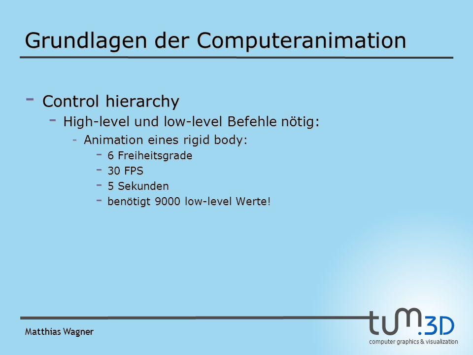 computer graphics & visualization Matthias Wagner Grundlagen der Computeranimation - Control hierarchy - High-level und low-level Befehle nötig: -Animation eines rigid body: - 6 Freiheitsgrade - 30 FPS - 5 Sekunden - benötigt 9000 low-level Werte.