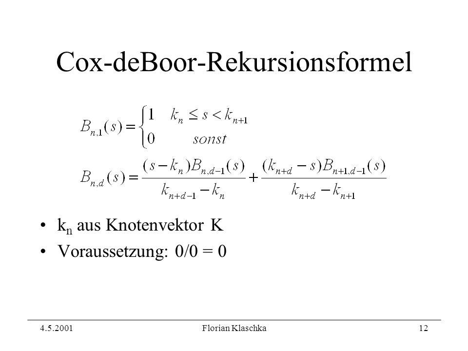 4.5.2001Florian Klaschka12 Cox-deBoor-Rekursionsformel k n aus Knotenvektor K Voraussetzung: 0/0 = 0