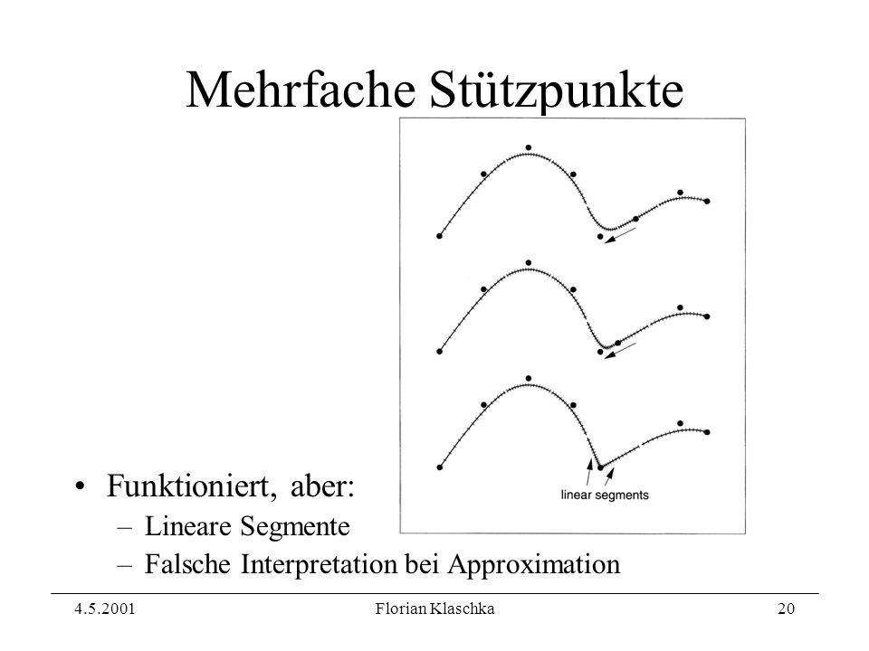 4.5.2001Florian Klaschka20 Mehrfache Stützpunkte Funktioniert, aber: –Lineare Segmente –Falsche Interpretation bei Approximation