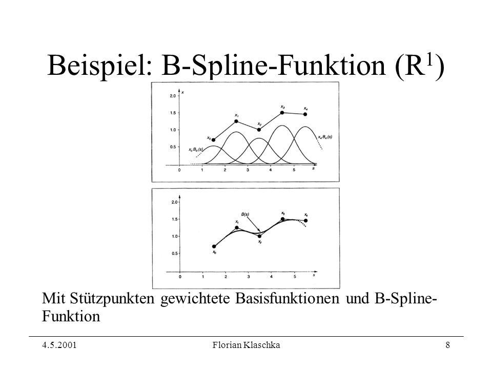 4.5.2001Florian Klaschka8 Beispiel: B-Spline-Funktion (R 1 ) Mit Stützpunkten gewichtete Basisfunktionen und B-Spline- Funktion
