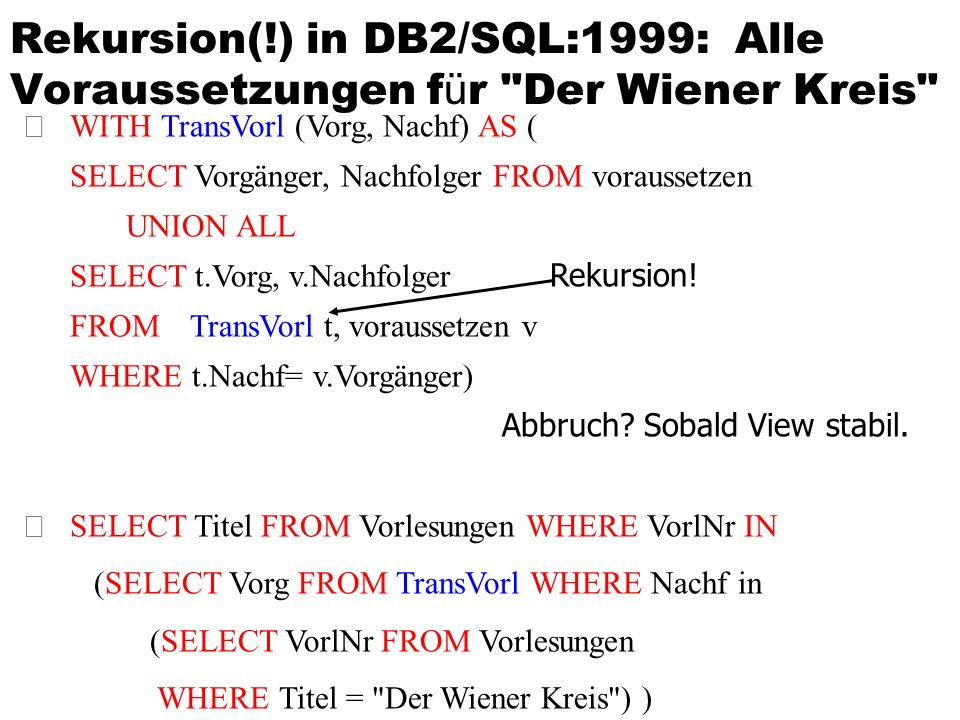Rekursion(!) in DB2/SQL:1999: Alle Voraussetzungen f ü r