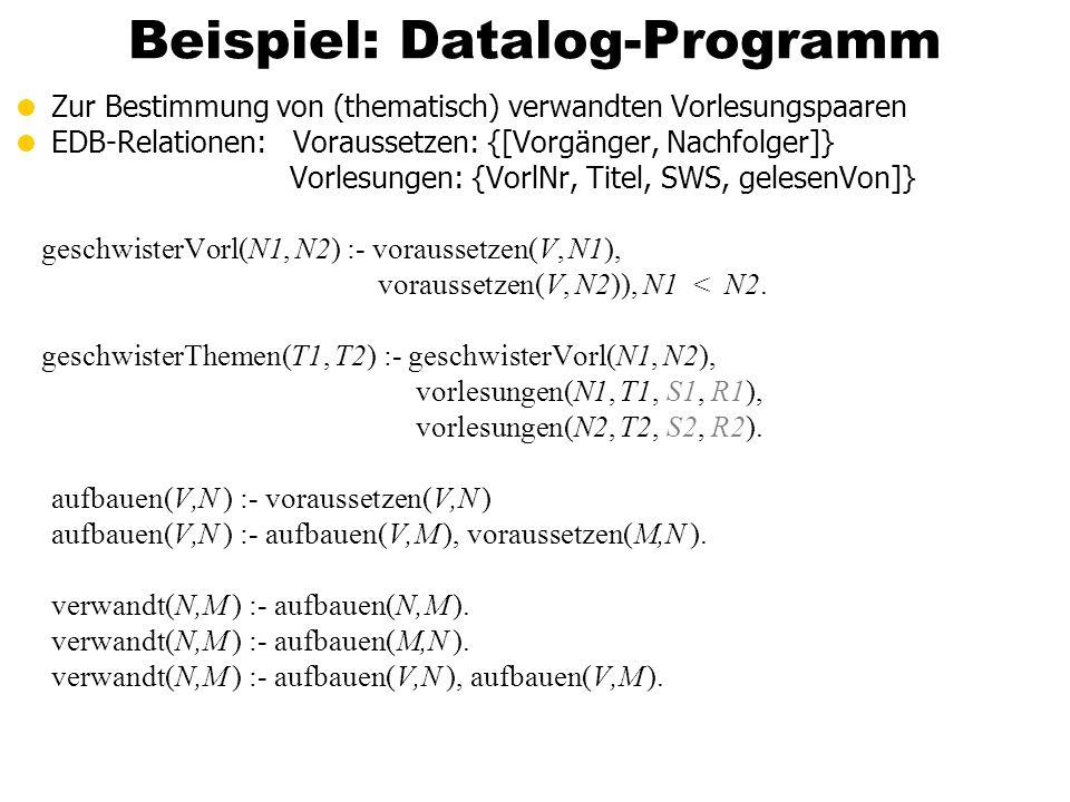 Beispiel: Datalog-Programm Zur Bestimmung von (thematisch) verwandten Vorlesungspaaren EDB-Relationen: Voraussetzen: {[Vorgänger, Nachfolger]} Vorlesu