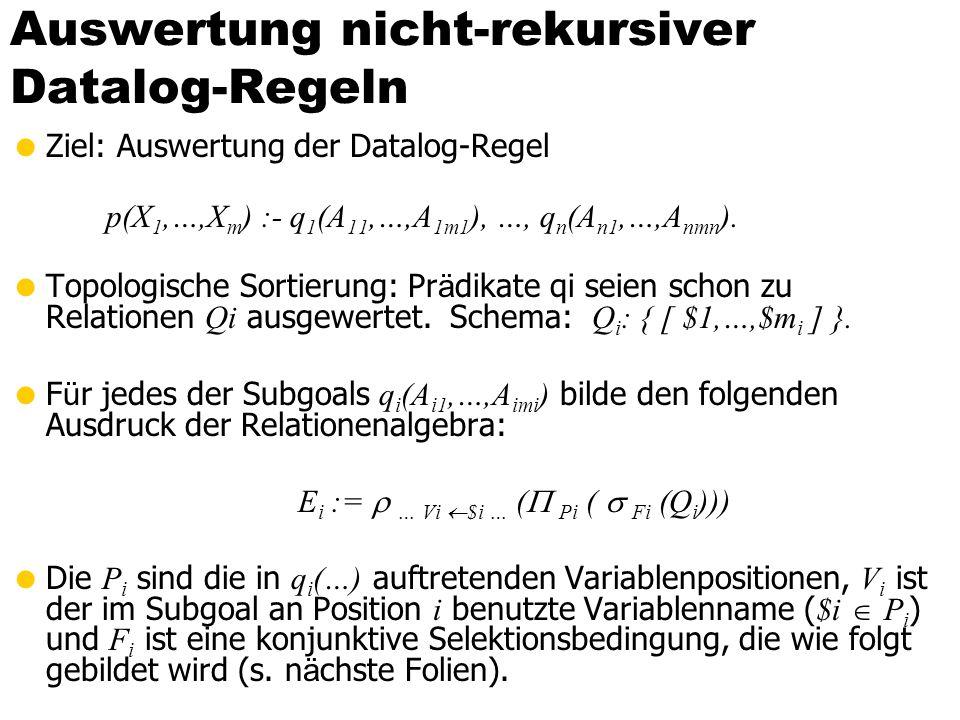 Auswertung nicht-rekursiver Datalog-Regeln Ziel: Auswertung der Datalog-Regel p(X 1,…,X m ) :- q 1 (A 11,…,A 1m1 ), …, q n (A n1,…,A nmn ). Topologisc