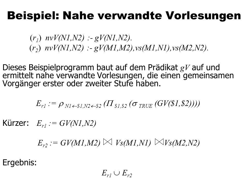 Beispiel: Nahe verwandte Vorlesungen (r 1 ) nvV(N1,N2) :- gV(N1,N2). (r 2 ) nvV(N1,N2) :- gV(M1,M2),vs(M1,N1),vs(M2,N2). Dieses Beispielprogramm baut
