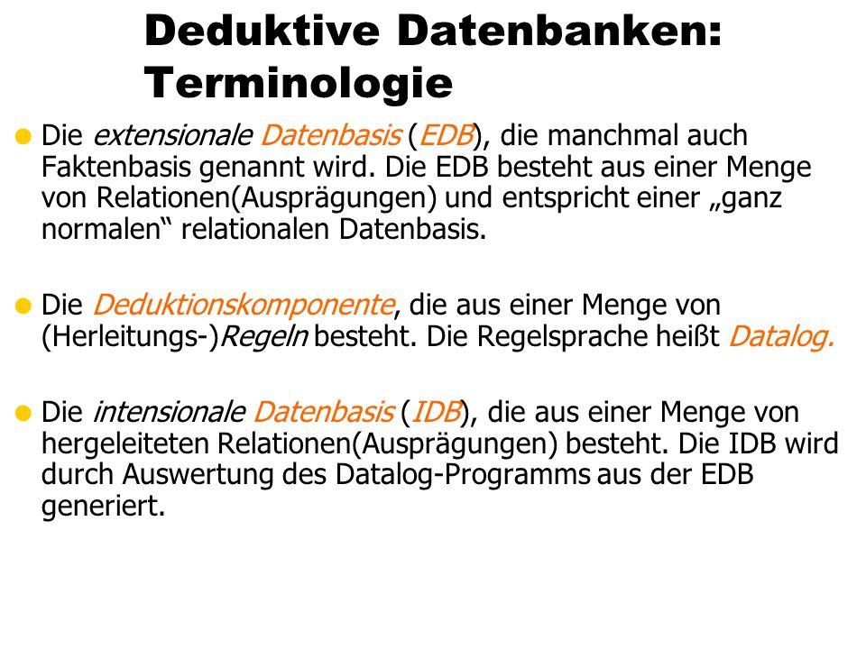 Deduktive Datenbanken: Terminologie Die extensionale Datenbasis (EDB), die manchmal auch Faktenbasis genannt wird. Die EDB besteht aus einer Menge von