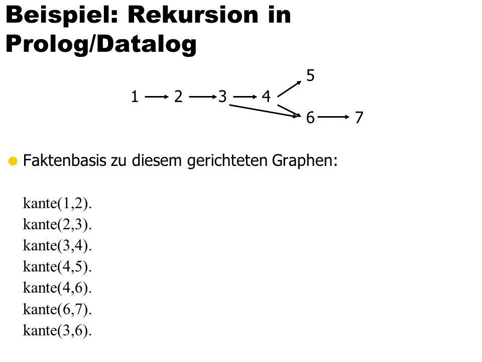 Beispiel: Datalog-Programm Zur Bestimmung von (thematisch) verwandten Vorlesungspaaren EDB-Relationen: Voraussetzen: {[Vorgänger, Nachfolger]} Vorlesungen: {VorlNr, Titel, SWS, gelesenVon]} geschwisterVorl(N1, N2) :- voraussetzen(V, N1), voraussetzen(V, N2)), N1 < N2.