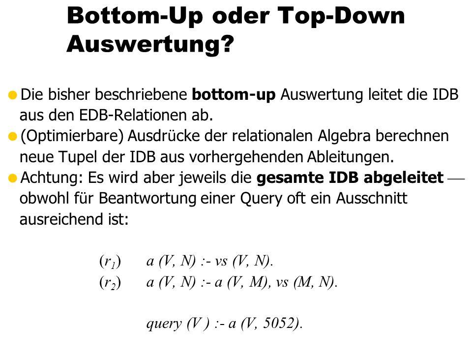 Bottom-Up oder Top-Down Auswertung? Die bisher beschriebene bottom-up Auswertung leitet die IDB aus den EDB-Relationen ab. (Optimierbare) Ausdr ü cke