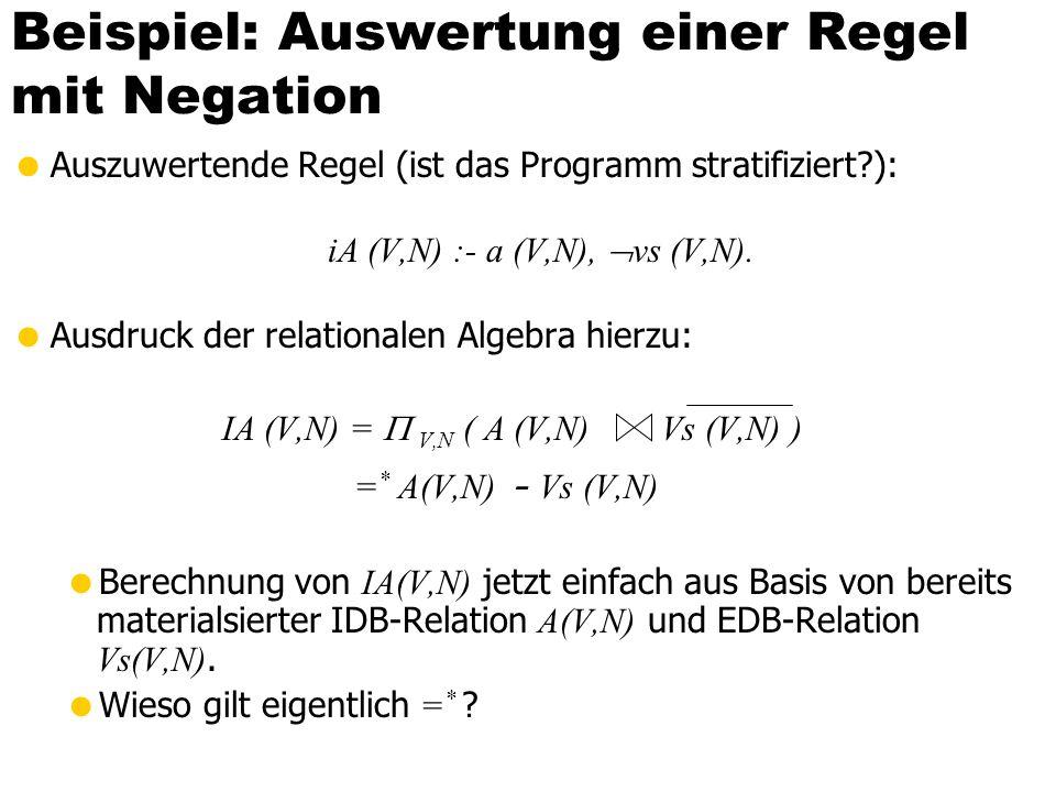 Beispiel: Auswertung einer Regel mit Negation Auszuwertende Regel (ist das Programm stratifiziert?): iA (V,N) :- a (V,N), vs (V,N). Ausdruck der relat