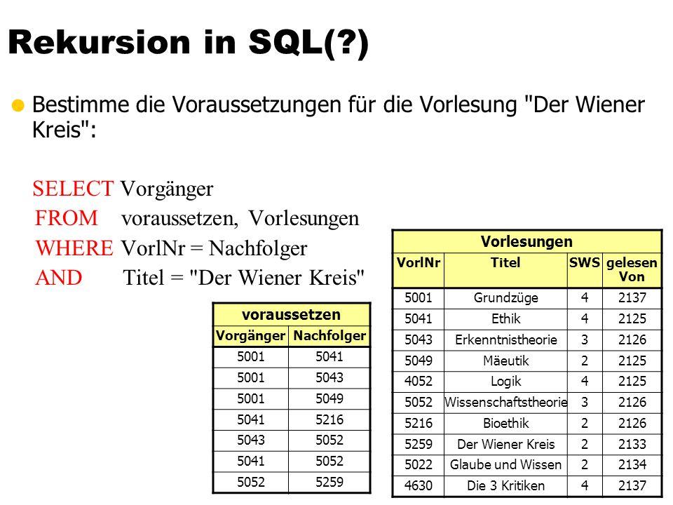 Rekursion in SQL(?) Bestimme die Voraussetzungen f ü r die Vorlesung