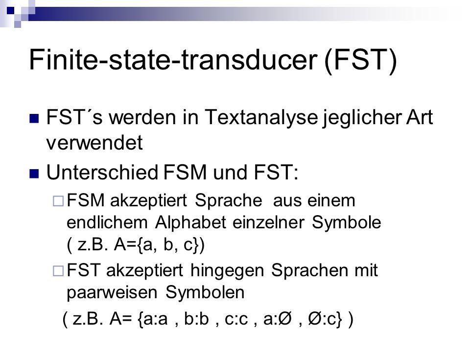 Finite-state-transducer (FST) FST´s werden in Textanalyse jeglicher Art verwendet Unterschied FSM und FST: FSM akzeptiert Sprache aus einem endlichem Alphabet einzelner Symbole ( z.B.
