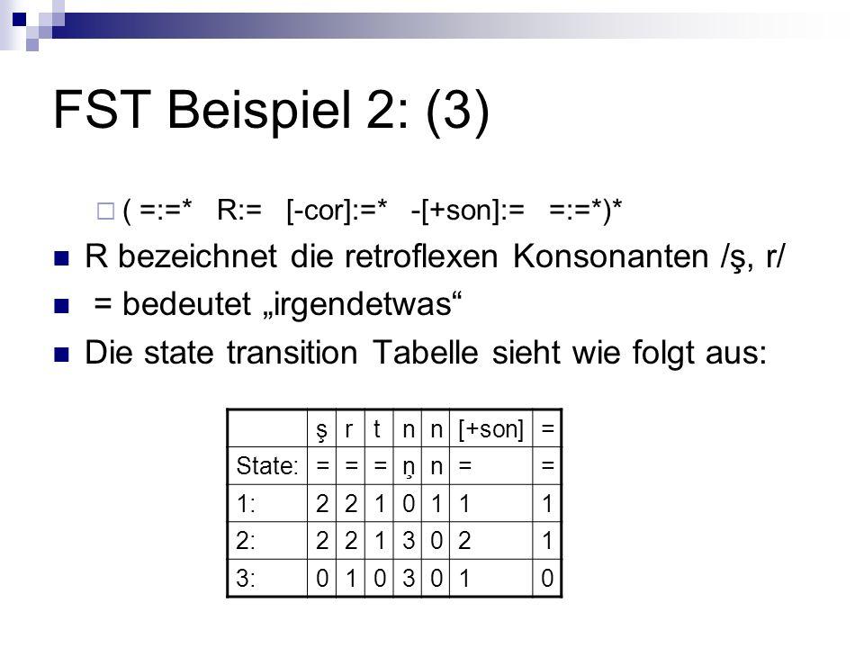 FST Beispiel 2: (3) ( =:=* R:= [-cor]:=* -[+son]:= =:=*)* R bezeichnet die retroflexen Konsonanten /ş, r/ = bedeutet irgendetwas Die state transition Tabelle sieht wie folgt aus: şrtnn[+son]= State:===ņn== 1:2210111 2:2213021 3:0103010