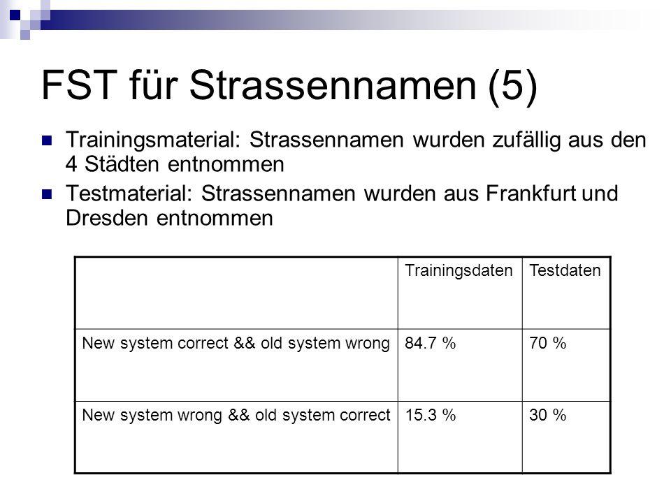 FST für Strassennamen (5) Trainingsmaterial: Strassennamen wurden zufällig aus den 4 Städten entnommen Testmaterial: Strassennamen wurden aus Frankfurt und Dresden entnommen TrainingsdatenTestdaten New system correct && old system wrong84.7 %70 % New system wrong && old system correct15.3 %30 %