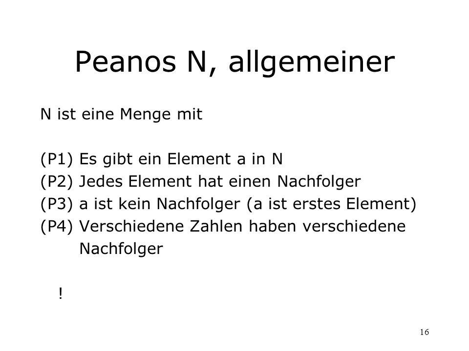 16 Peanos N, allgemeiner N ist eine Menge mit (P1)Es gibt ein Element a in N (P2)Jedes Element hat einen Nachfolger (P3)a ist kein Nachfolger (a ist e