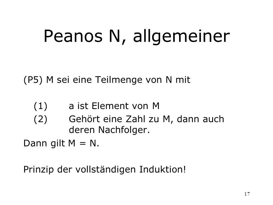 17 Peanos N, allgemeiner (P5)M sei eine Teilmenge von N mit (1) a ist Element von M (2) Gehört eine Zahl zu M, dann auch deren Nachfolger. Dann gilt M