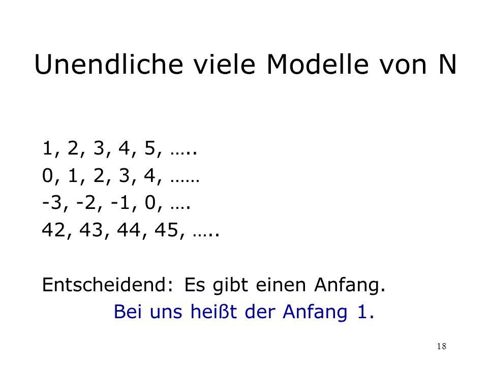 18 Unendliche viele Modelle von N 1, 2, 3, 4, 5, ….. 0, 1, 2, 3, 4, …… -3, -2, -1, 0, …. 42, 43, 44, 45, ….. Entscheidend: Es gibt einen Anfang. Bei u