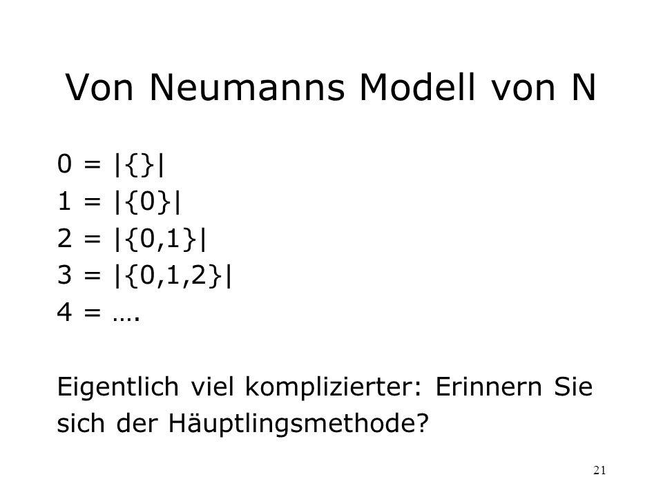 21 Von Neumanns Modell von N 0 = |{}| 1 = |{0}| 2 = |{0,1}| 3 = |{0,1,2}| 4 = …. Eigentlich viel komplizierter: Erinnern Sie sich der Häuptlingsmethod