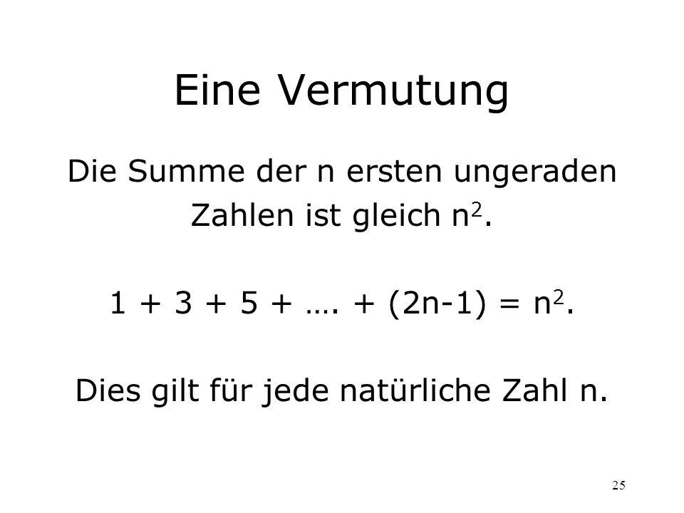 25 Eine Vermutung Die Summe der n ersten ungeraden Zahlen ist gleich n 2. 1 + 3 + 5 + …. + (2n-1) = n 2. Dies gilt für jede natürliche Zahl n.