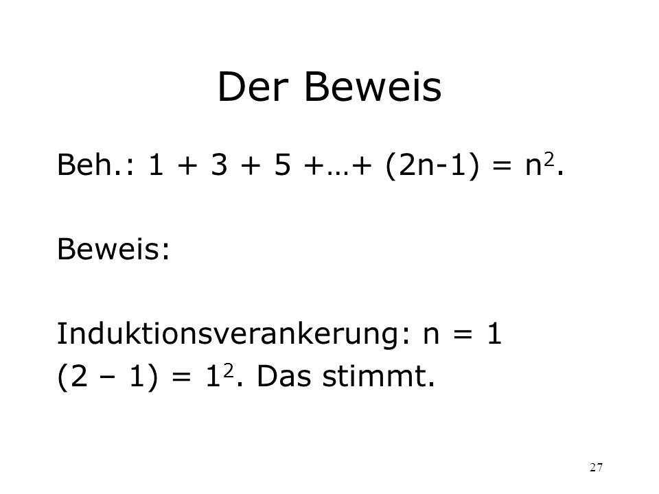 27 Der Beweis Beh.: 1 + 3 + 5 +…+ (2n-1) = n 2. Beweis: Induktionsverankerung: n = 1 (2 – 1) = 1 2. Das stimmt.