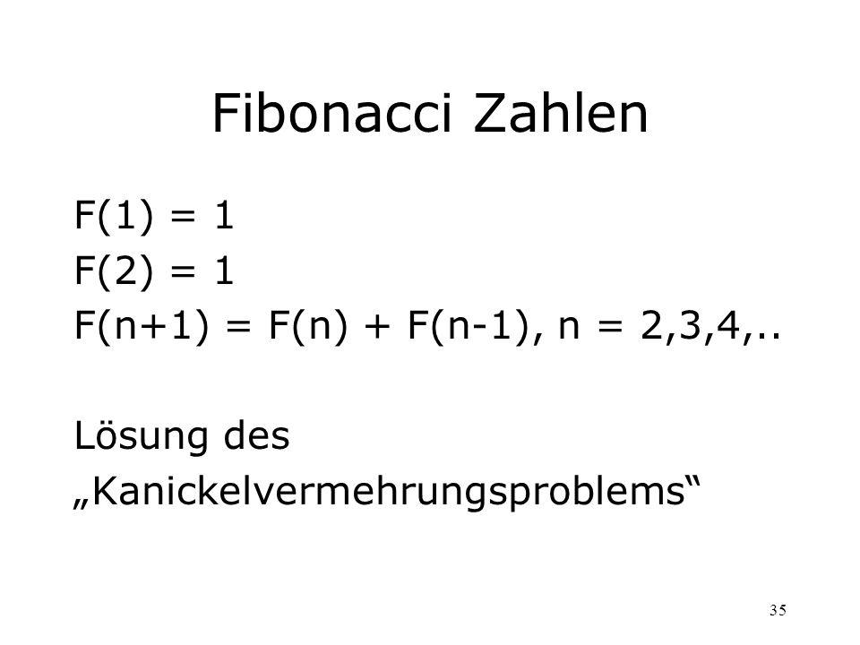 35 Fibonacci Zahlen F(1) = 1 F(2) = 1 F(n+1) = F(n) + F(n-1), n = 2,3,4,.. Lösung des Kanickelvermehrungsproblems