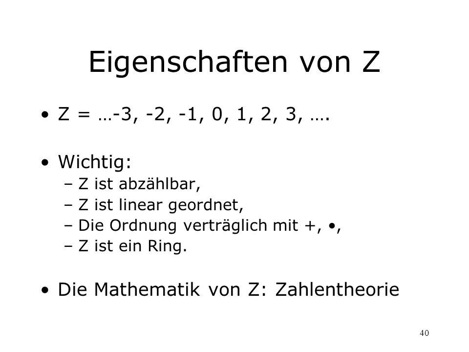 40 Eigenschaften von Z Z = …-3, -2, -1, 0, 1, 2, 3, …. Wichtig: –Z ist abzählbar, –Z ist linear geordnet, –Die Ordnung verträglich mit +,, –Z ist ein