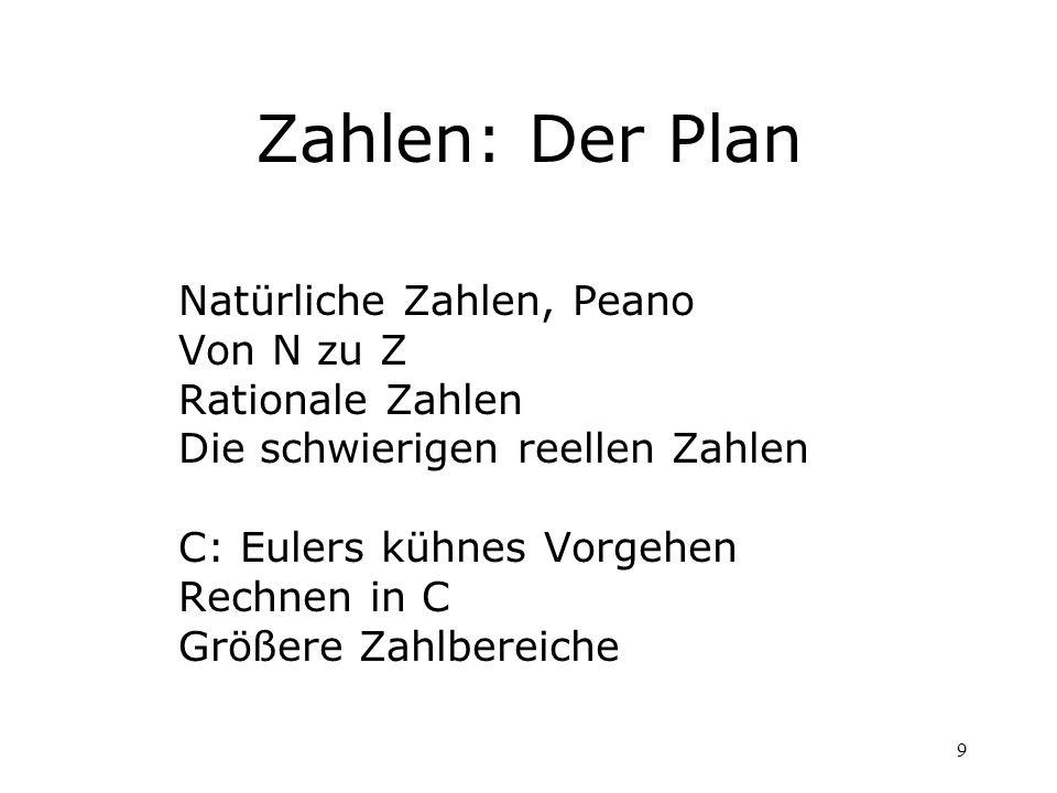 9 Zahlen: Der Plan Natürliche Zahlen, Peano Von N zu Z Rationale Zahlen Die schwierigen reellen Zahlen C: Eulers kühnes Vorgehen Rechnen in C Größere