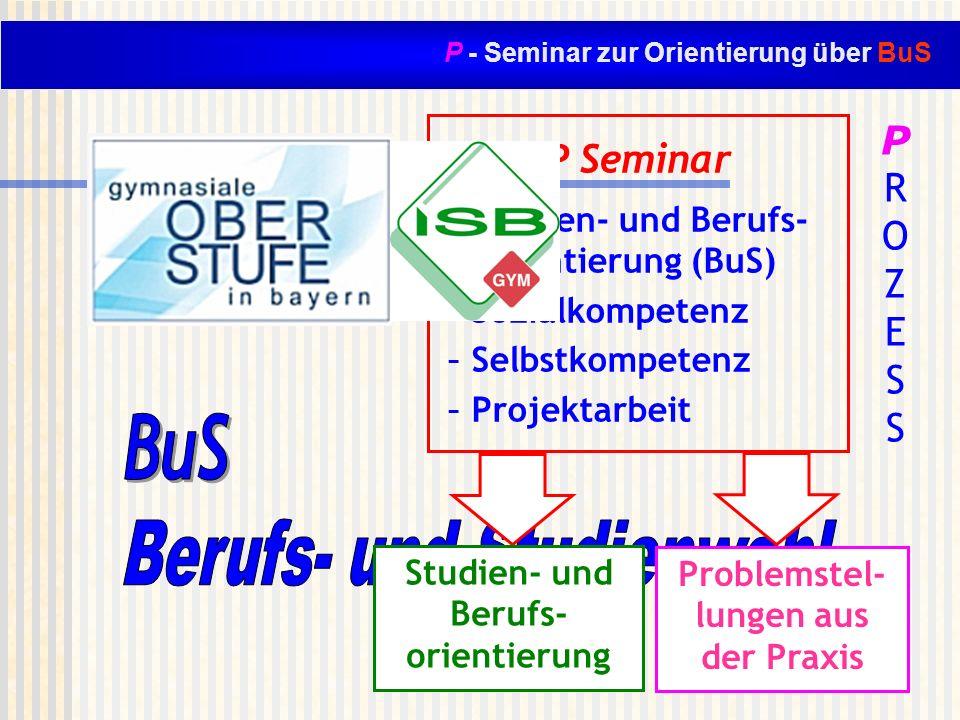 P - Seminar zur Orientierung über BuS P Seminar - Studien- und Berufs- orientierung (BuS) - Sozialkompetenz - Selbstkompetenz - Projektarbeit Studien-