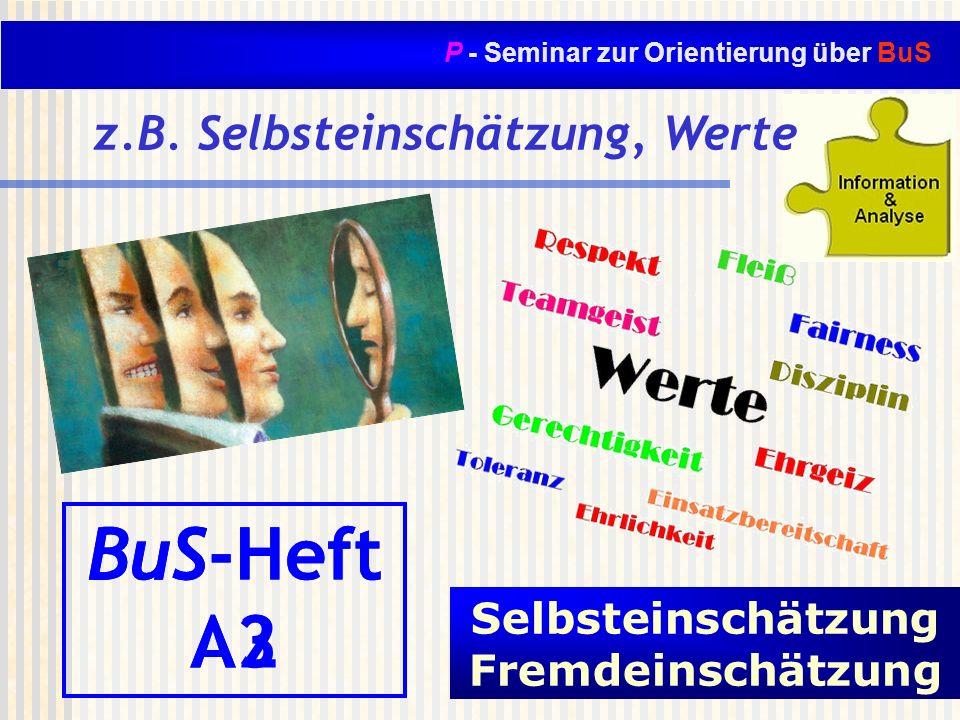 P - Seminar zur Orientierung über BuS z.B. Selbsteinschätzung, Werte BuS-Heft A3 Meine Werte und Lebensziele BuS-Heft A2 Selbsteinschätzung Fremdeinsc