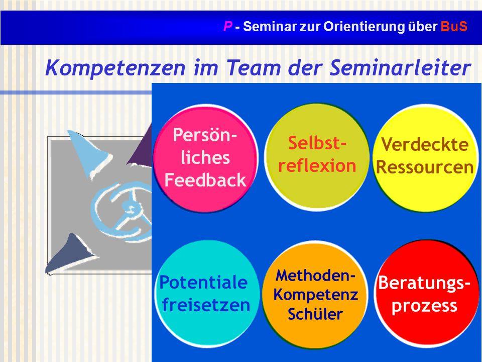 P - Seminar zur Orientierung über BuS Kompetenzen im Team der Seminarleiter Beratung z.B. Gesprächs- führung Diagnostik Einfühlungsver- mögen Zusammen