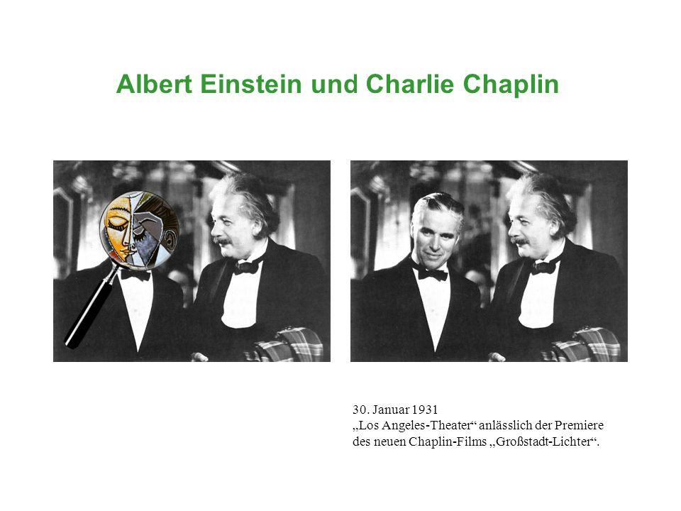 Albert Einstein und...Charlie Chaplin 30. Januar 1931 Los Angeles-Theater anlässlich der Premiere des neuen Chaplin-Films Großstadt-Lichter.