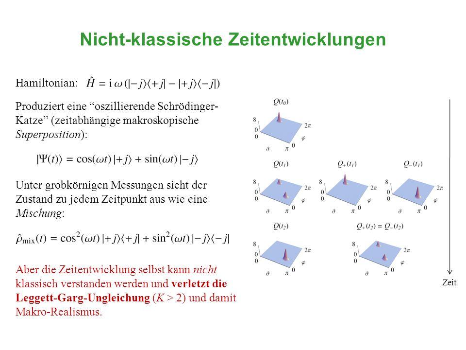 Nicht-klassische Zeitentwicklungen Hamiltonian: Aber die Zeitentwicklung selbst kann nicht klassisch verstanden werden und verletzt die Leggett-Garg-U