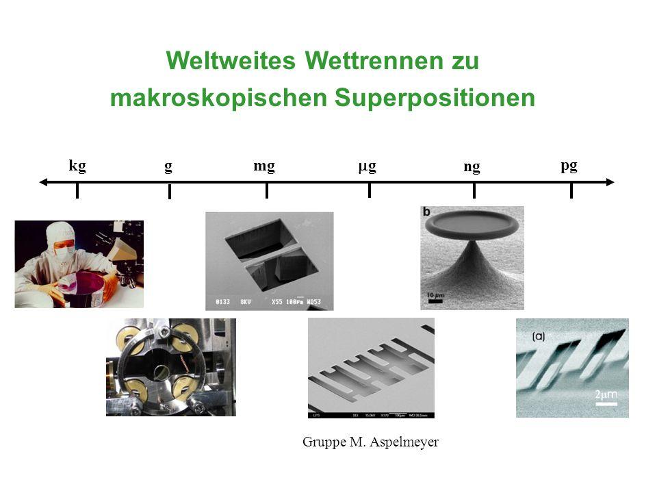 kg g pg mg g ng Weltweites Wettrennen zu makroskopischen Superpositionen Gruppe M. Aspelmeyer
