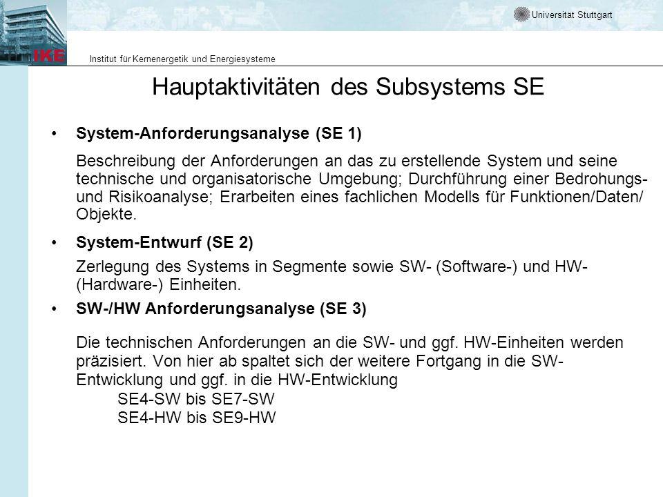 Universität Stuttgart Institut für Kernenergetik und Energiesysteme Hauptaktivitäten des Subsystems SE Software-Entwicklung (SE4-SW bis SE7-SW) Die Software-Entwicklung hat nach einem dem Projekt adäquaten Prozessmodell zu erfolgen.