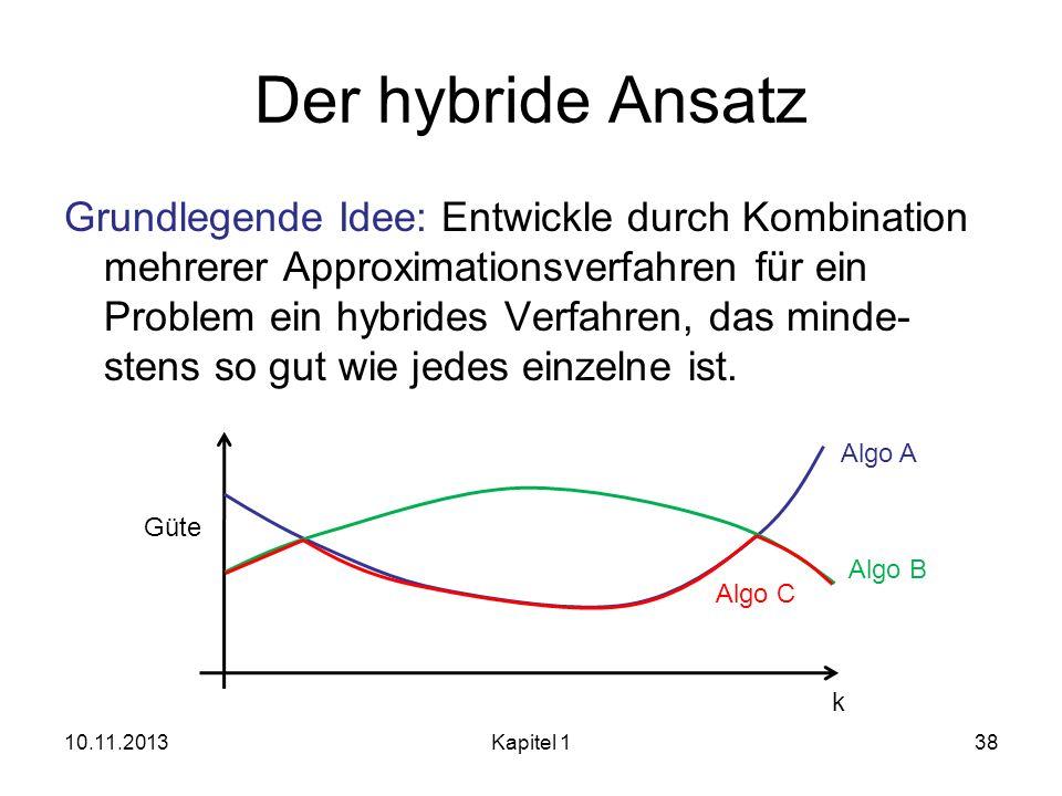Der hybride Ansatz Grundlegende Idee: Entwickle durch Kombination mehrerer Approximationsverfahren für ein Problem ein hybrides Verfahren, das minde-
