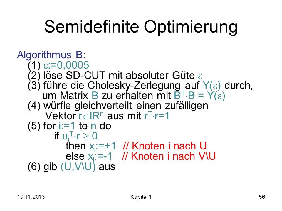 Semidefinite Optimierung Algorithmus B: (1) :=0,0005 (2) löse SD-CUT mit absoluter Güte (3) führe die Cholesky-Zerlegung auf Y( ) durch, um Matrix B z