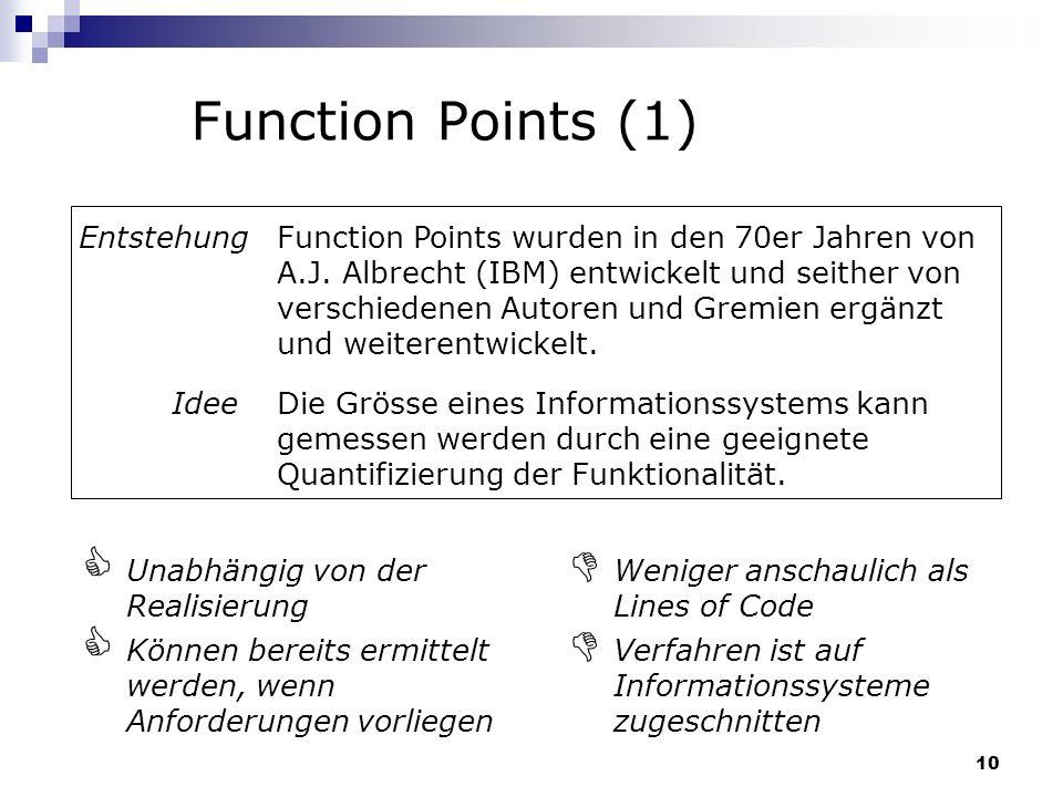 10 Function Points (1) Function Points wurden in den 70er Jahren von A.J. Albrecht (IBM) entwickelt und seither von verschiedenen Autoren und Gremien