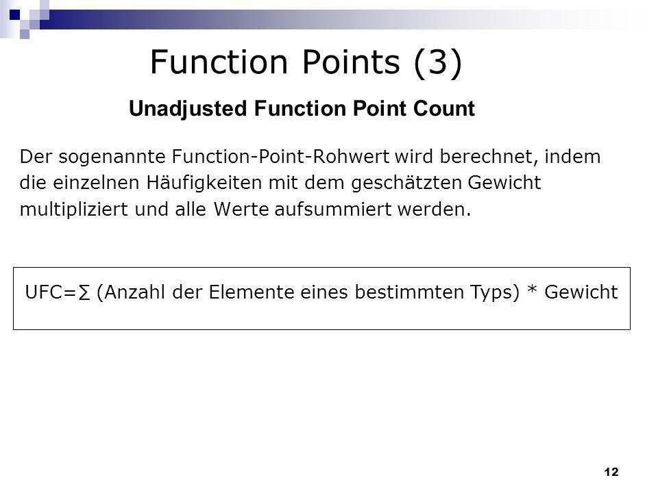 12 Function Points (3) Der sogenannte Function-Point-Rohwert wird berechnet, indem die einzelnen Häufigkeiten mit dem geschätzten Gewicht multiplizier