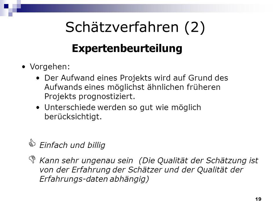 19 Expertenbeurteilung Vorgehen: Der Aufwand eines Projekts wird auf Grund des Aufwands eines möglichst ähnlichen früheren Projekts prognostiziert. Un