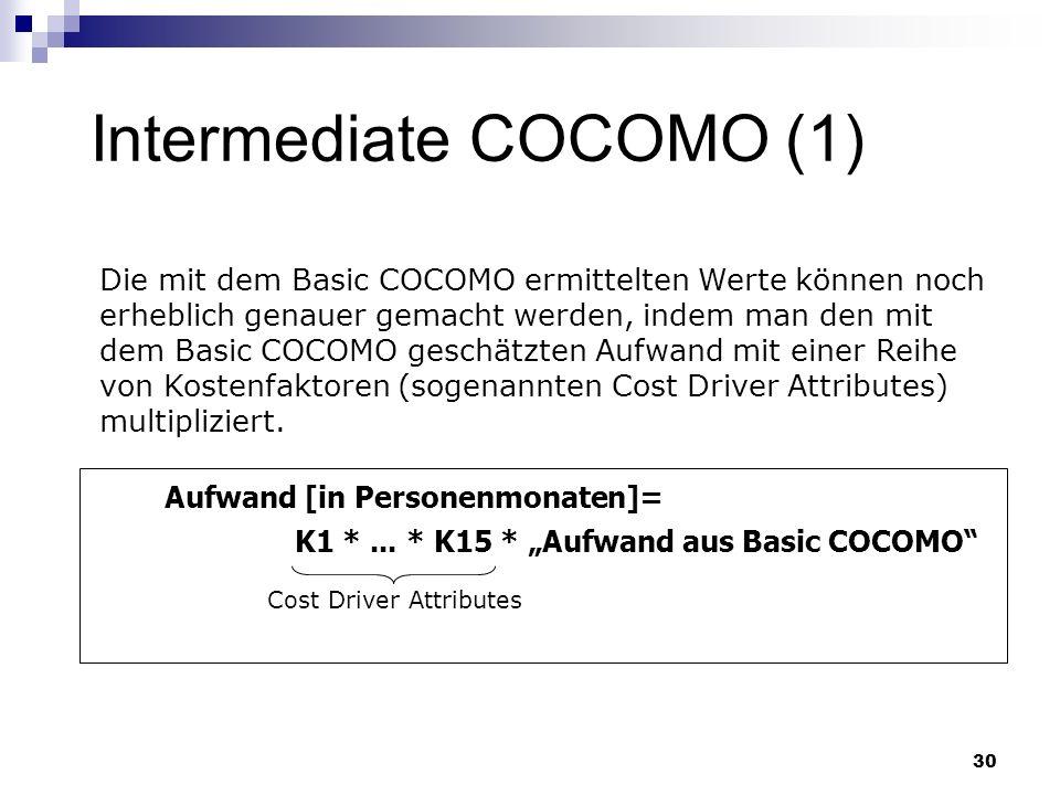 30 Intermediate COCOMO (1) Cost Driver Attributes Aufwand [in Personenmonaten]= K1 *... * K15 * Aufwand aus Basic COCOMO Die mit dem Basic COCOMO ermi
