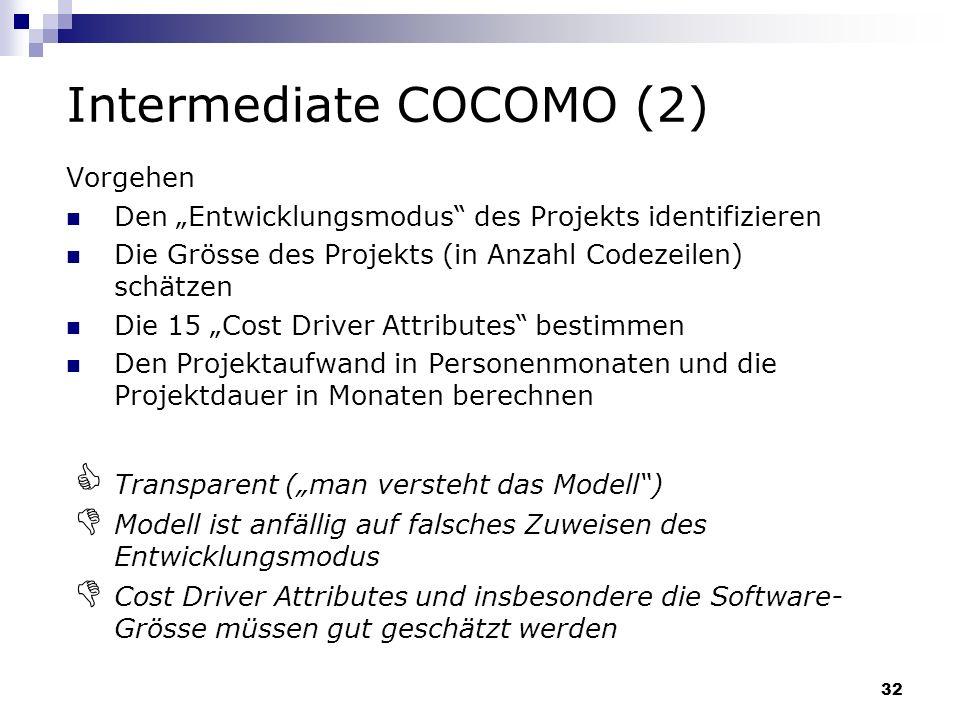 32 Intermediate COCOMO (2) Vorgehen Den Entwicklungsmodus des Projekts identifizieren Die Grösse des Projekts (in Anzahl Codezeilen) schätzen Die 15 C