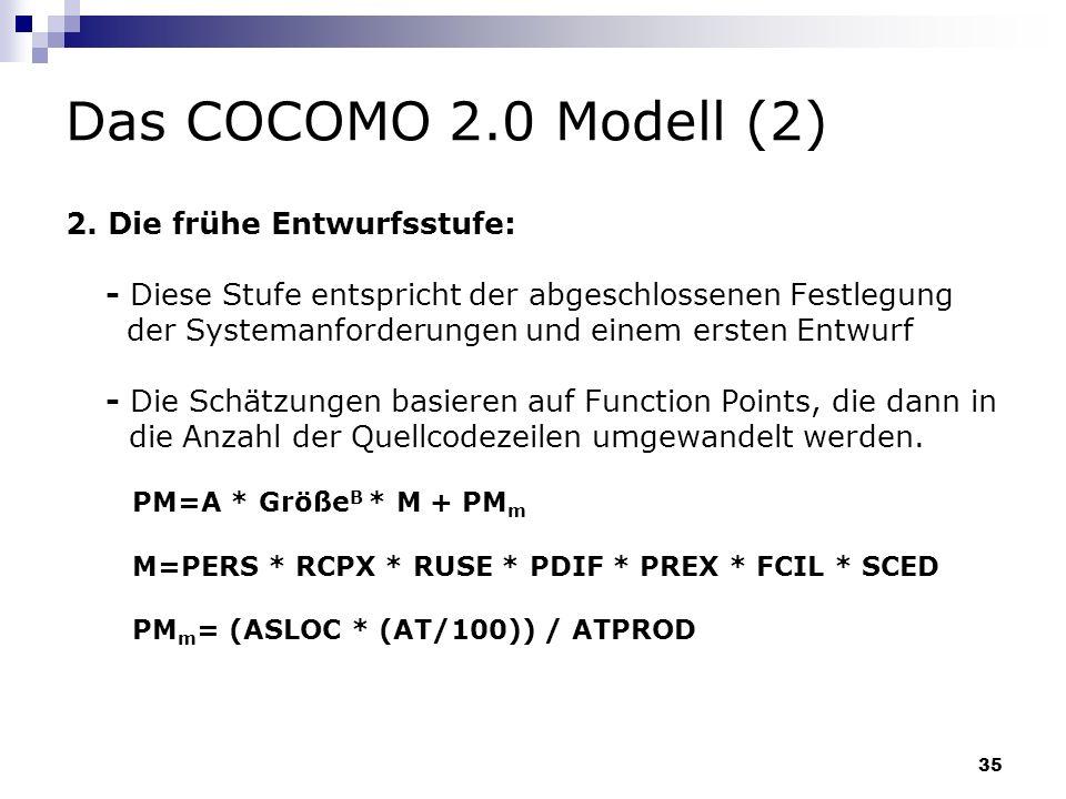 35 Das COCOMO 2.0 Modell (2) 2. Die frühe Entwurfsstufe: - Diese Stufe entspricht der abgeschlossenen Festlegung der Systemanforderungen und einem ers