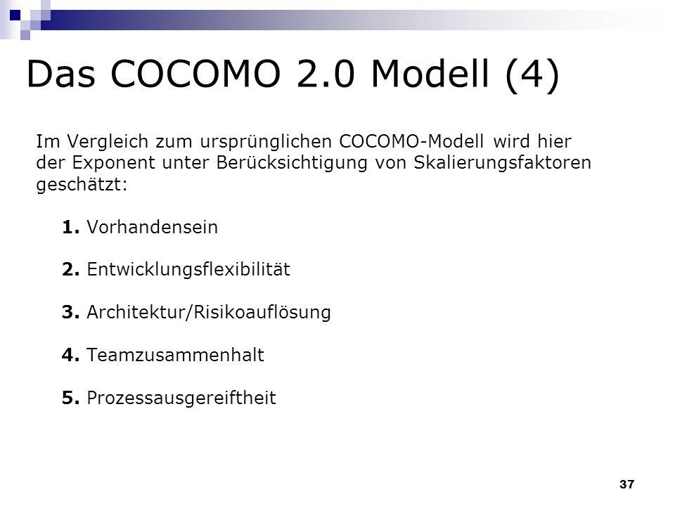 37 Das COCOMO 2.0 Modell (4) Im Vergleich zum ursprünglichen COCOMO-Modell wird hier der Exponent unter Berücksichtigung von Skalierungsfaktoren gesch