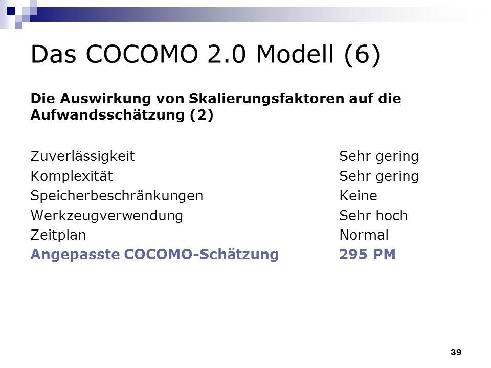 39 Das COCOMO 2.0 Modell (6) Zuverlässigkeit Sehr gering Komplexität Sehr gering Speicherbeschränkungen Keine Werkzeugverwendung Sehr hoch Zeitplan No
