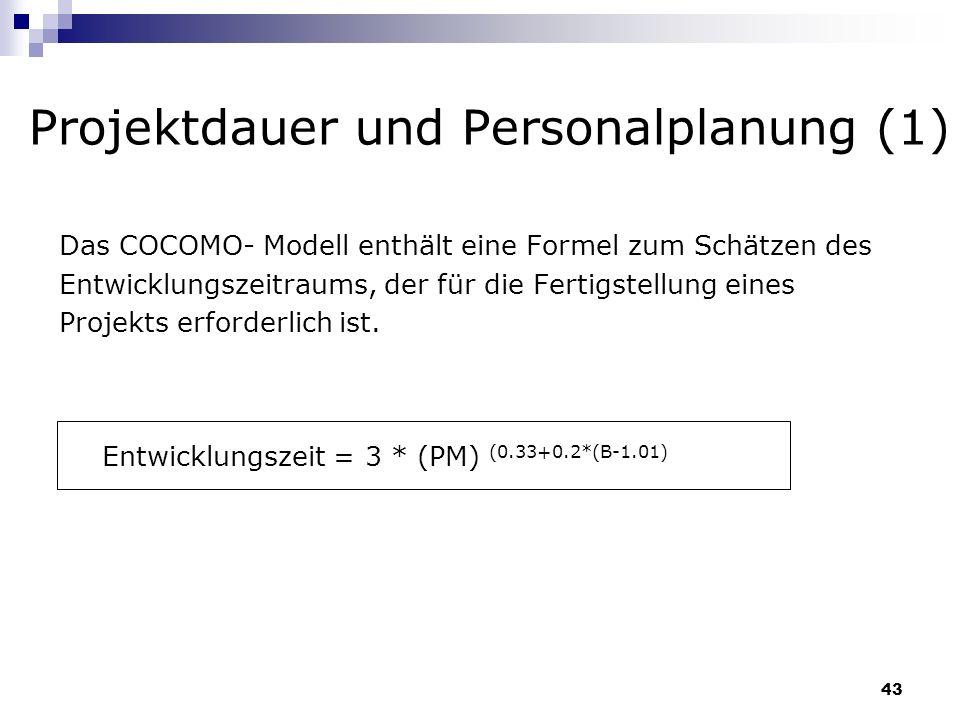 43 Projektdauer und Personalplanung (1) Das COCOMO- Modell enthält eine Formel zum Schätzen des Entwicklungszeitraums, der für die Fertigstellung eine