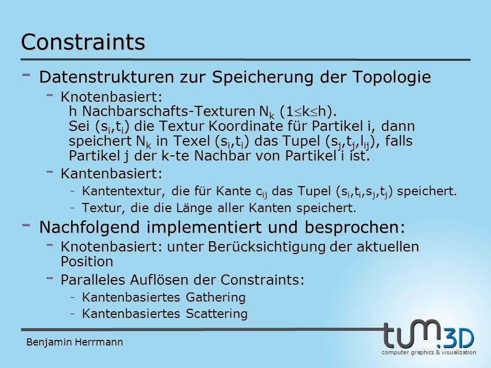 computer graphics & visualization Benjamin Herrmann Constraints - Datenstrukturen zur Speicherung der Topologie - Knotenbasiert: h Nachbarschafts-Texturen N k (1kh).
