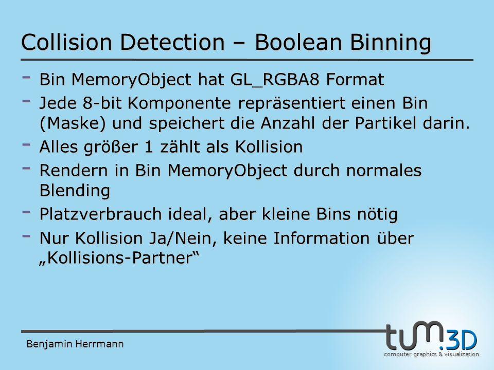 computer graphics & visualization Benjamin Herrmann Collision Detection – Boolean Binning - Bin MemoryObject hat GL_RGBA8 Format - Jede 8-bit Komponente repräsentiert einen Bin (Maske) und speichert die Anzahl der Partikel darin.