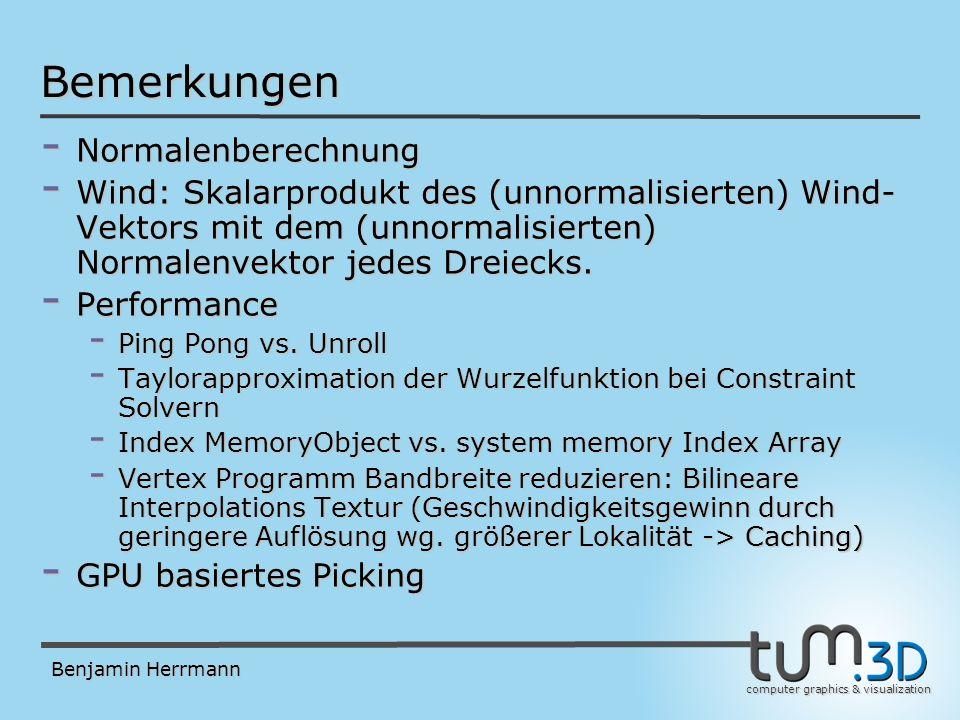 computer graphics & visualization Benjamin Herrmann Bemerkungen - Normalenberechnung - Wind: Skalarprodukt des (unnormalisierten) Wind- Vektors mit dem (unnormalisierten) Normalenvektor jedes Dreiecks.