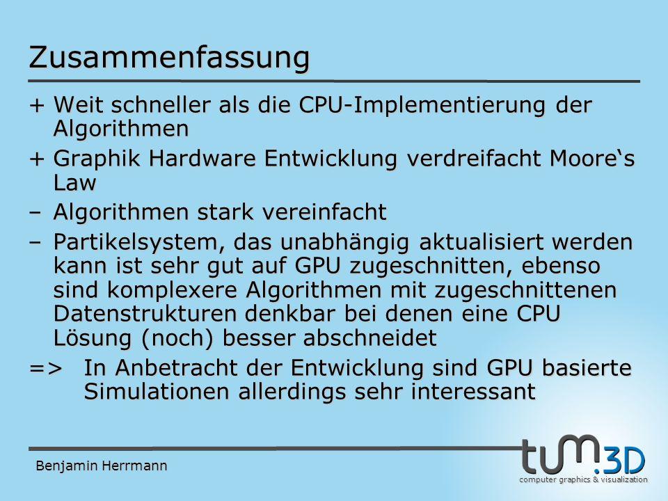 computer graphics & visualization Benjamin Herrmann Zusammenfassung +Weit schneller als die CPU-Implementierung der Algorithmen +Graphik Hardware Entwicklung verdreifacht Moores Law –Algorithmen stark vereinfacht –Partikelsystem, das unabhängig aktualisiert werden kann ist sehr gut auf GPU zugeschnitten, ebenso sind komplexere Algorithmen mit zugeschnittenen Datenstrukturen denkbar bei denen eine CPU Lösung (noch) besser abschneidet => In Anbetracht der Entwicklung sind GPU basierte Simulationen allerdings sehr interessant