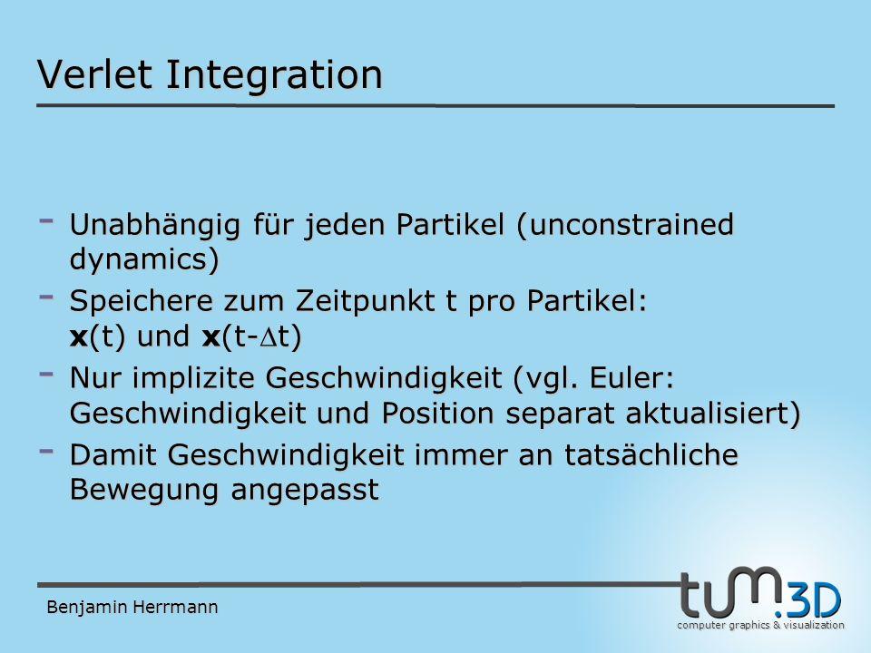 computer graphics & visualization Benjamin Herrmann Intuitiv: Fehlerentwicklung (für x 1,x 2 und x 3, x 0 =0) Verlet Integration