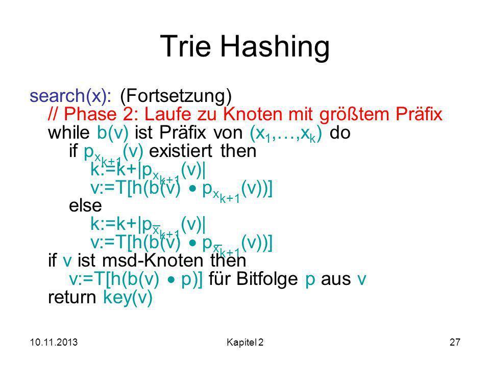 10.11.2013Kapitel 227 Trie Hashing search(x): (Fortsetzung) // Phase 2: Laufe zu Knoten mit größtem Präfix while b(v) ist Präfix von (x 1,…,x k ) do if p x k+1 (v) existiert then k:=k+|p x k+1 (v)| v:=T[h(b(v) p x k+1 (v))] else k:=k+|p x k+1 (v)| v:=T[h(b(v) p x k+1 (v))] if v ist msd-Knoten then v:=T[h(b(v) p)] für Bitfolge p aus v return key(v)